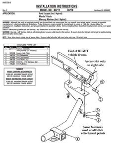 Valley Hitch 82211 Class III Hitch FOR Mercury Mariner