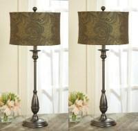 2 TABLE BUFFET LAMPS w/PAISLEY ABSTRACT Lamp Shades | eBay