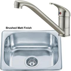 Cheap Kitchen Sink And Tap Sets Light Maple Cabinets Brushed Set Small Bowl Stainless Steel Inset