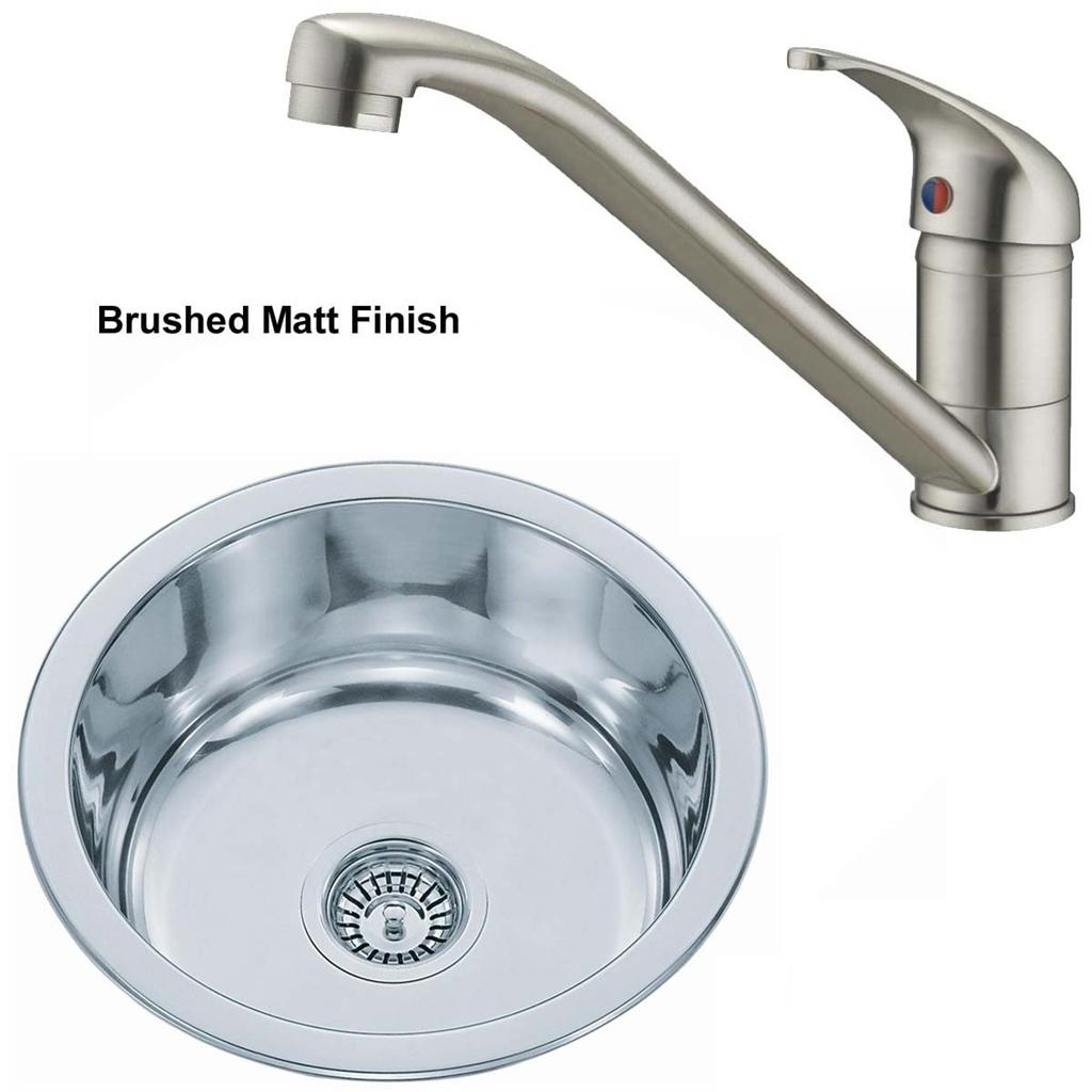 cheap kitchen sink and tap sets pre assembled cabinets brushed set small bowl stainless steel inset