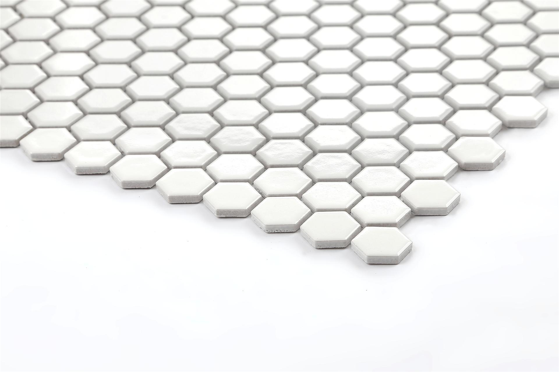 cheap kitchen sink and tap sets backsplash cost 1 sq m white hexagonal gloss ceramic mosaic wall & floor ...