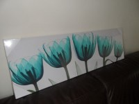 NEW LARGE TEAL X RAY FLOWER CANVAS WALL ART PICTURE | eBay