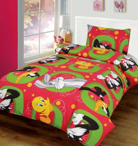 DAFFY DUCK TWEETY BIRD SINGLE BED QUILT DOONA COVER SET