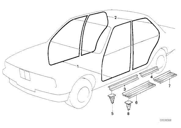 10 pieces BMW E21 E23 E30 E36 Door Sill / Strip Clip