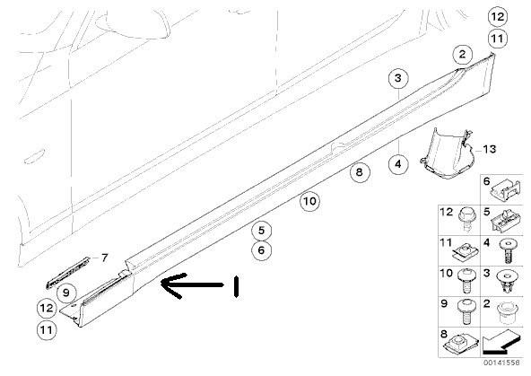 12 BMW E36 E46 E60 E65 E90 Side Skirt / Rocker Panel Door