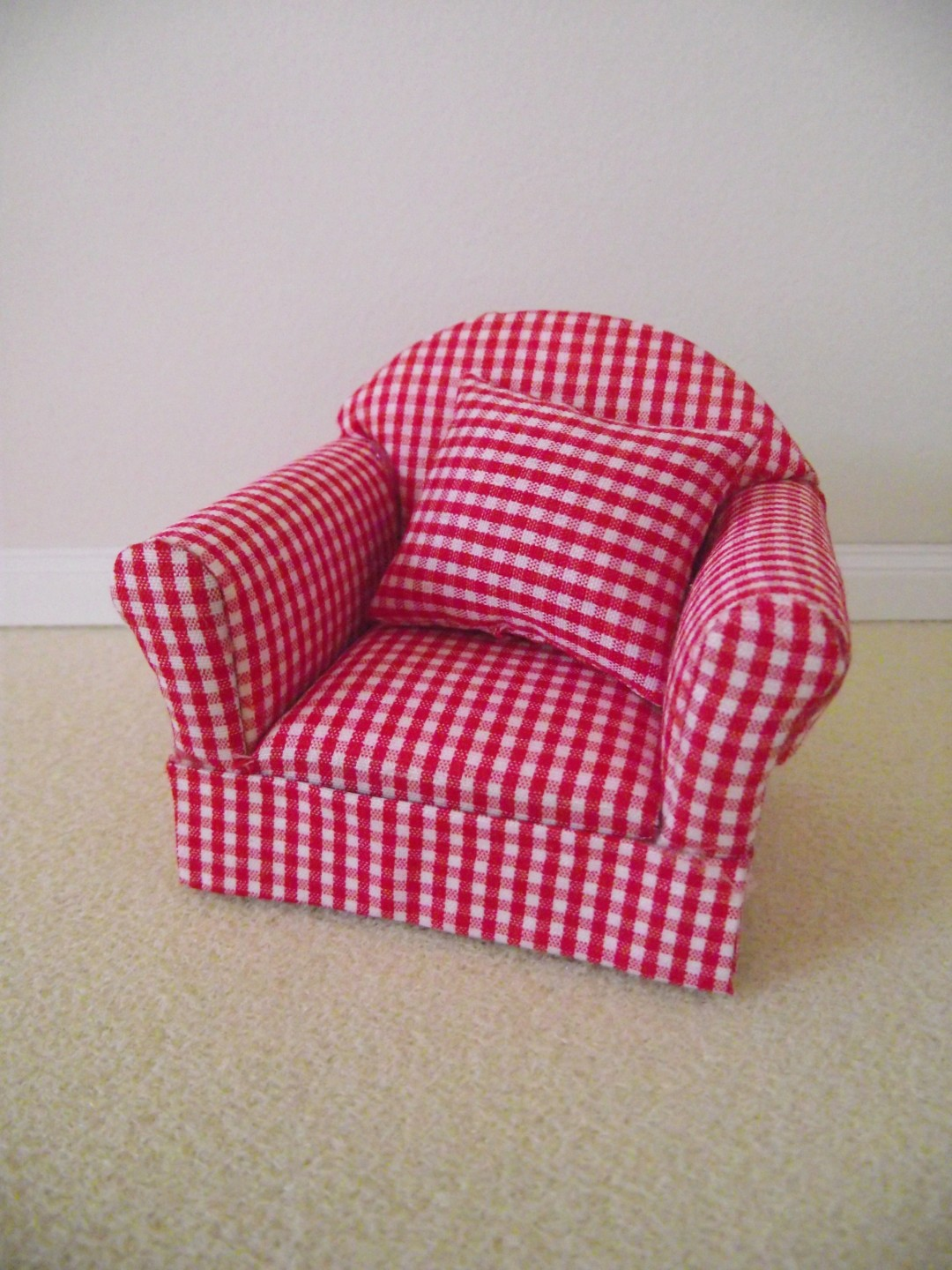 Gingham Chair Miniature Doll House 12th Scale Furniture Red Gingham