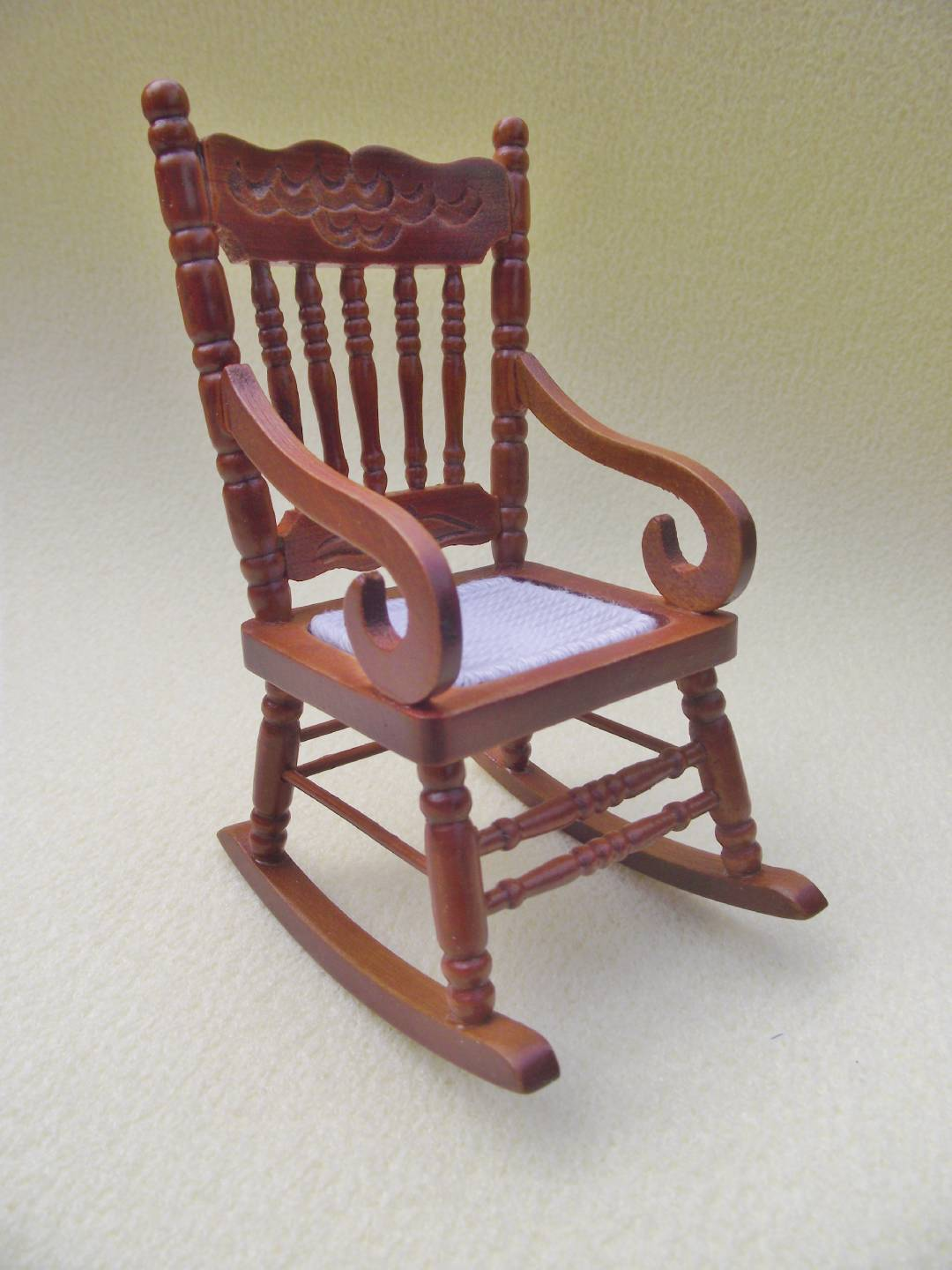 mini rocking chair cheap spandex folding covers for sale miniature dolls house furniture 12th scale wooden