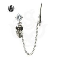 Silver stud dangle simulated diamond cobra sword earrings ...