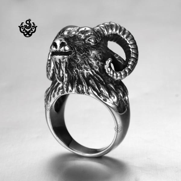 Siver Bikies Ring Occult Baphomet Ram Aries Zodiac Sheep