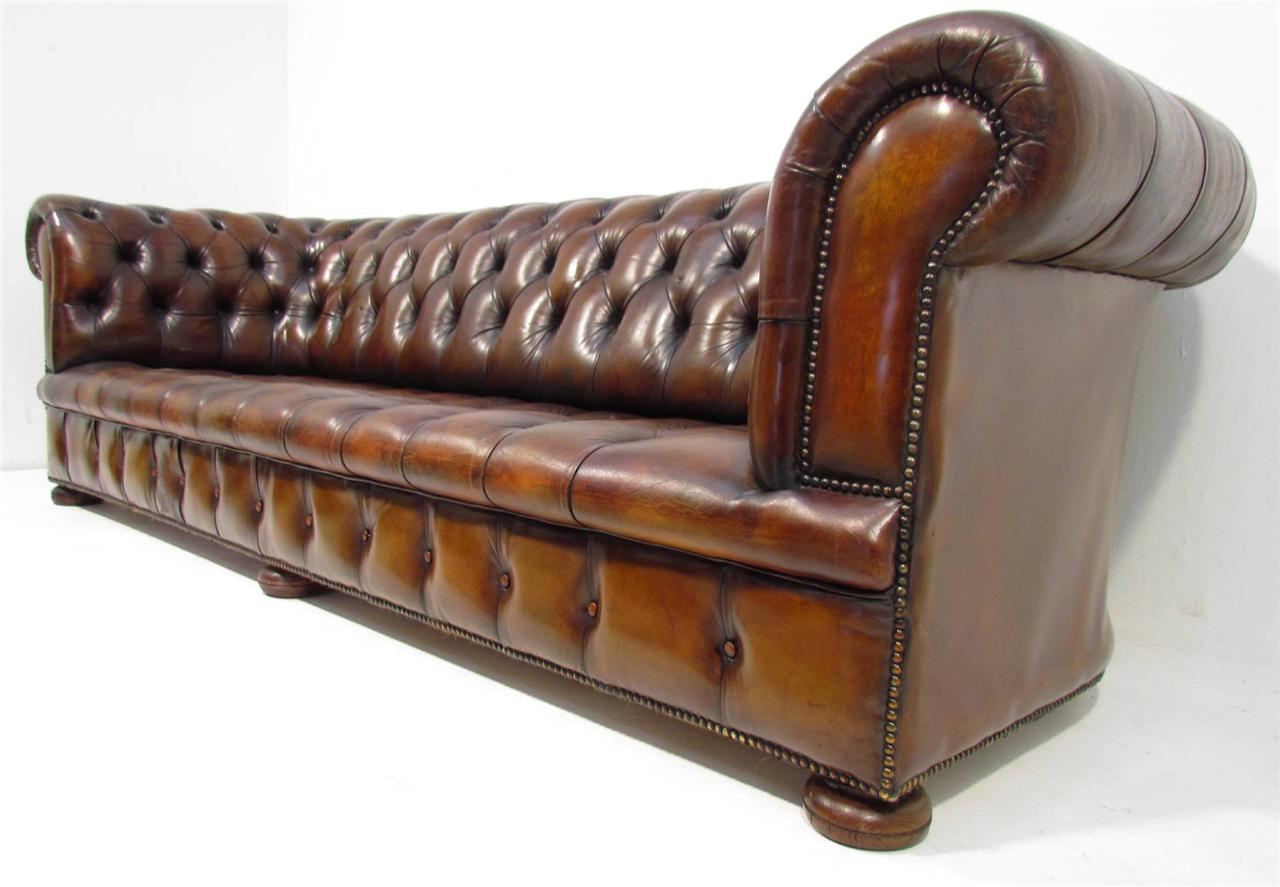 Big Sofa Vintage Look A Good Large Long Antique Style Deep Seated Tan Brown