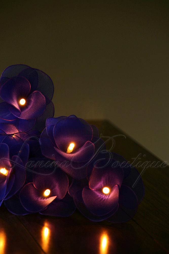 20 BLUE Nylon Rose Flower LED String Fairy Lights Lanterns Lamps  Purple NEW