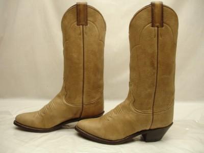 Womens justin cowboy boots tan brown genuine european elk