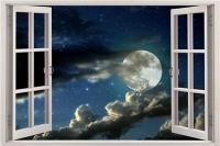 Full Moon Sky 3D Window View Decal WALL STICKER Home Decor ...