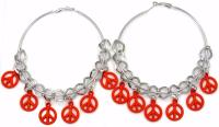 Peace Sign Symbol Charm Silver Tone Hoop Earrings 2.2in