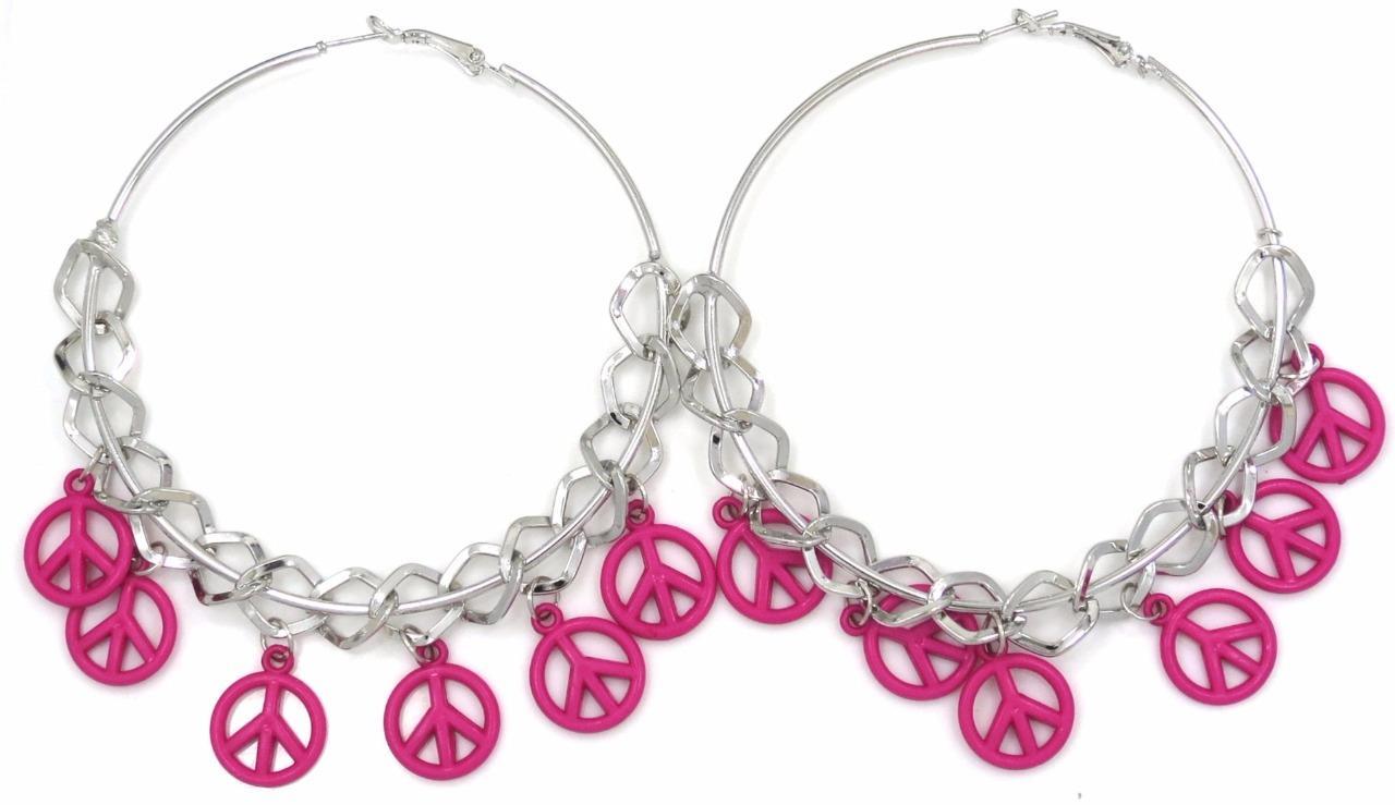 Peace Sign Symbol Charm Silver Tone Hoop Earrings 2.2in