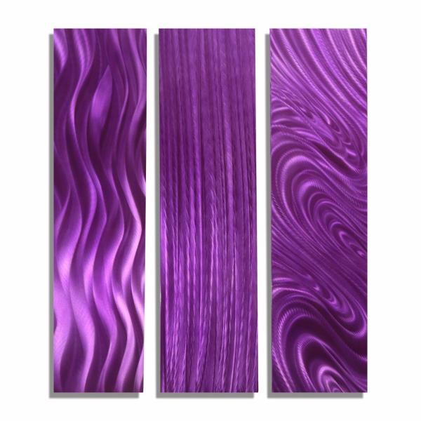 Modern Purple Art Abstract Metal Wall Decor - Trilogy Jon Allen