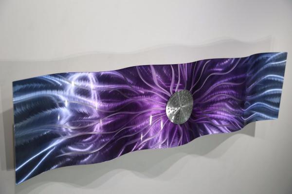 "Purple Abstract Art - Modern Metal Wall Sculpture Royal Static Wave 47"" X 12"""