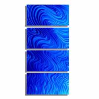 Large Multi Panel Modern Wall Sculpture, Blue Metal Wall ...