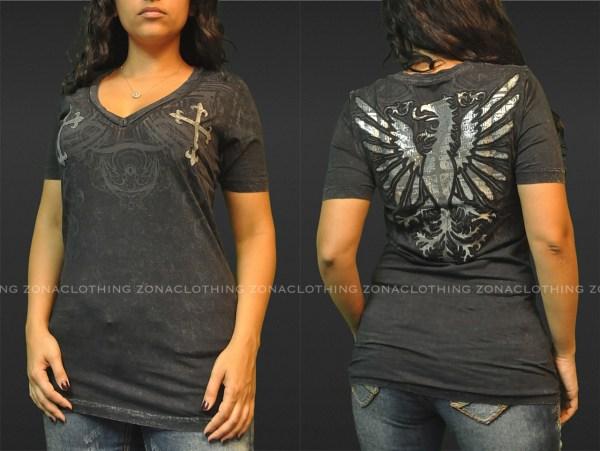 Sinful Affliction Falcon Cross -neck Tee T-shirt La Black