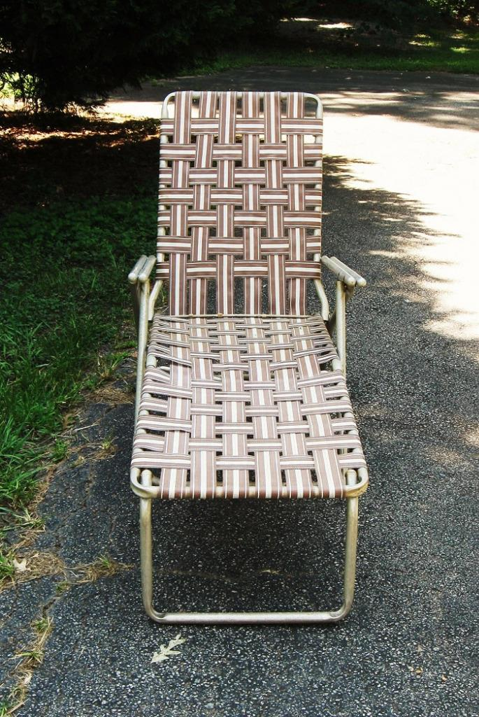 webbing for aluminum folding chairs oversized and ottomans vintage webbed chaise lounge lawn chair pool beach | ebay
