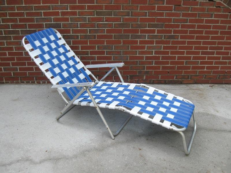 chaise lawn chair floating pool new webbing blue white aluminum folding webbed lounge view my other items for sale