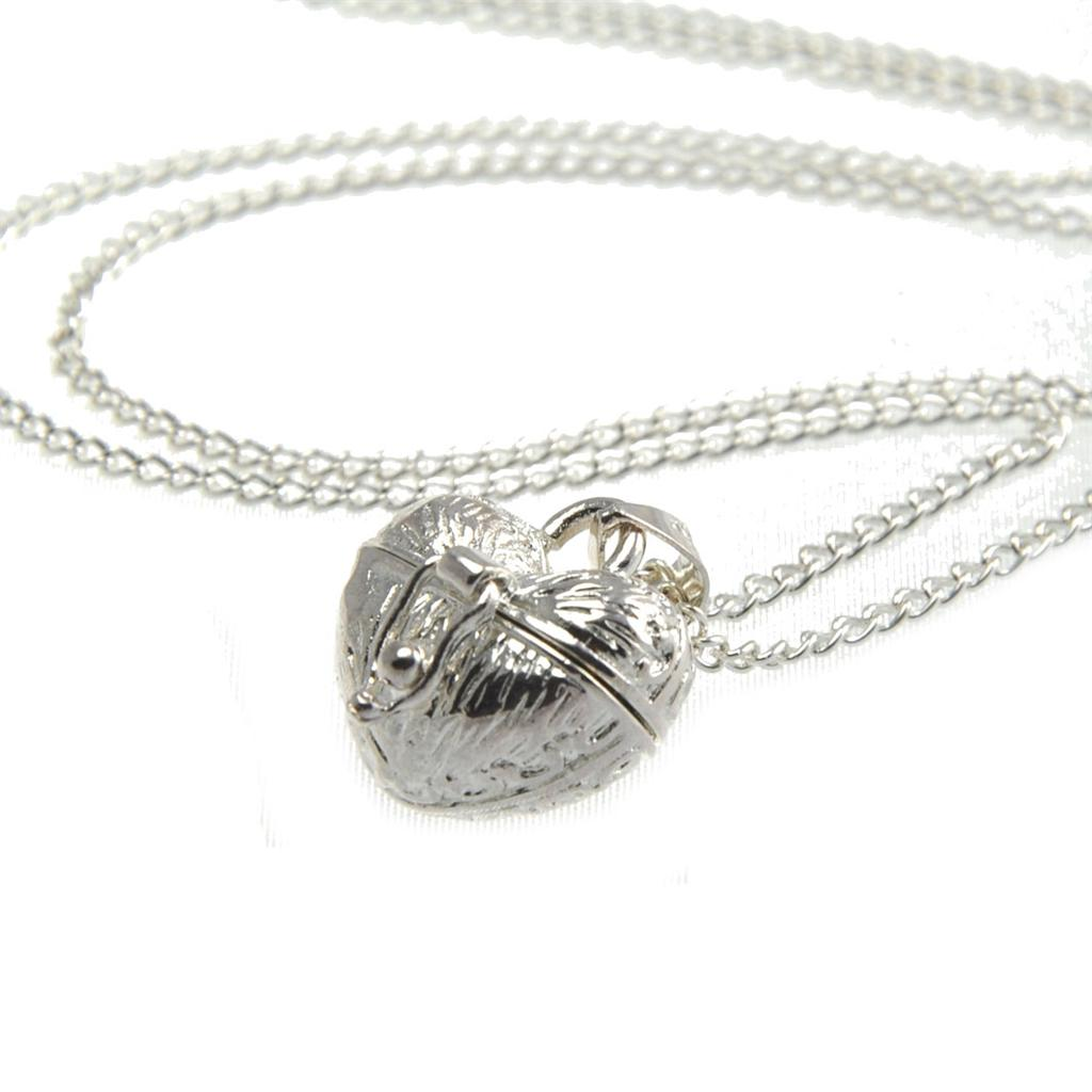Silver Heart Pill Box Locket Long Pretty Charm Necklace