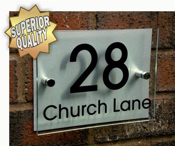 Modern House Number Sign Plaque Aluminium Acrylic