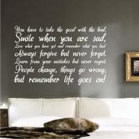 LIFE Inspirational WALL STICKER QUOTE ART DECAL QUOTE ...