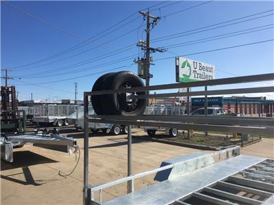 14x6.6 Tandem Car Trailer galvanised, Tire rack Australian