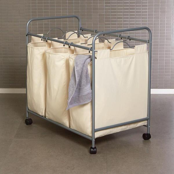 Laundry Sorter Hamper Cart 3 Washing Clothes