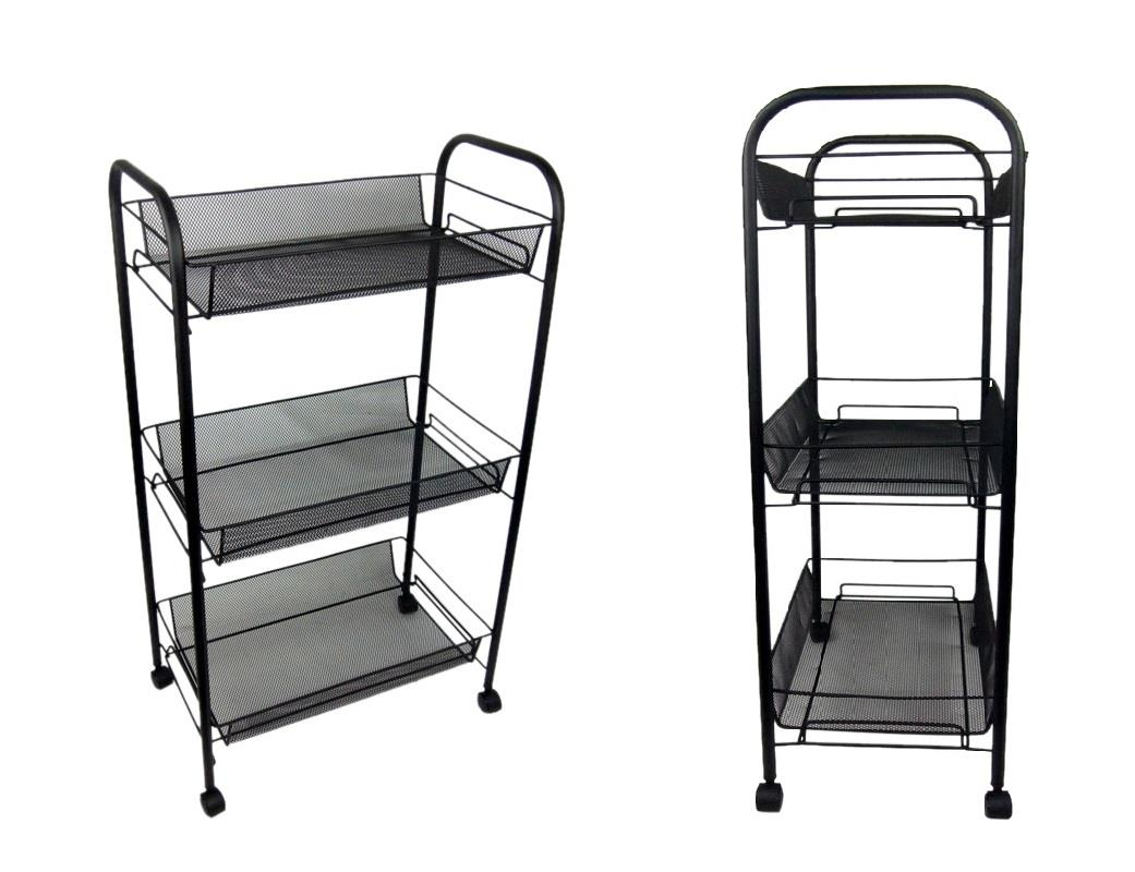 2 x black bathroom storage trolley toiletry linen 3 tier cart