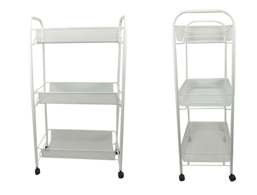 White Bathroom Storage Trolley 3 Tier Toiletry Linen Cart