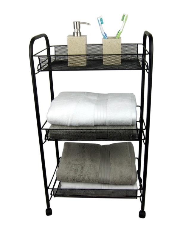 3 tier bathroom storage trolley toiletry linen cart black metal