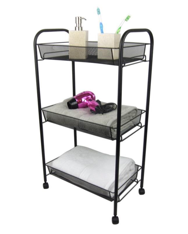 3 Tier Bathroom Storage Trolley Toiletry Linen Cart Black
