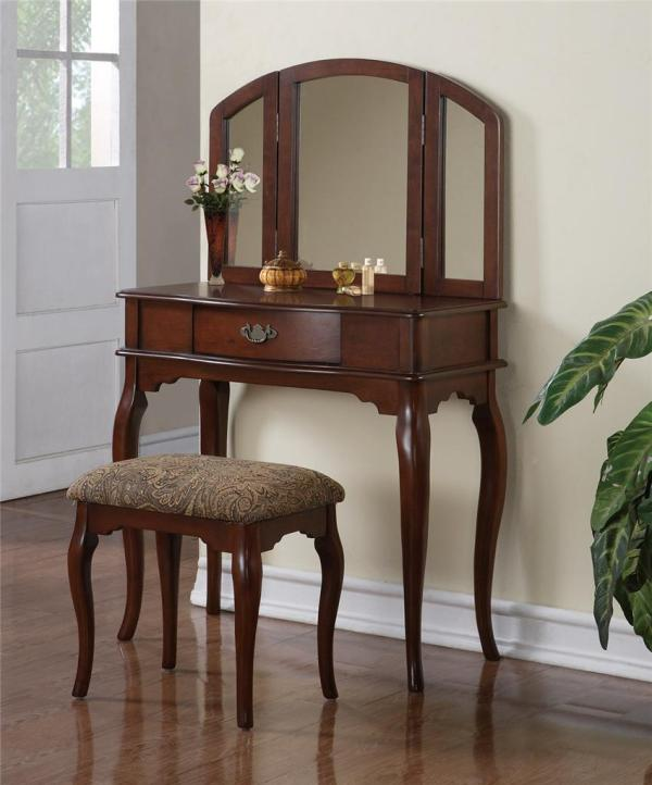 Queen Anne Vanity Makeup Table Set & Stool Trifold Mirror