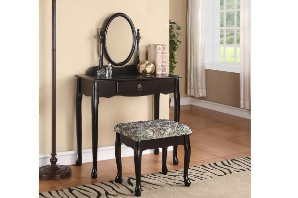 Queen Anne Style Vanity Table Set Mirror & Stool In Black