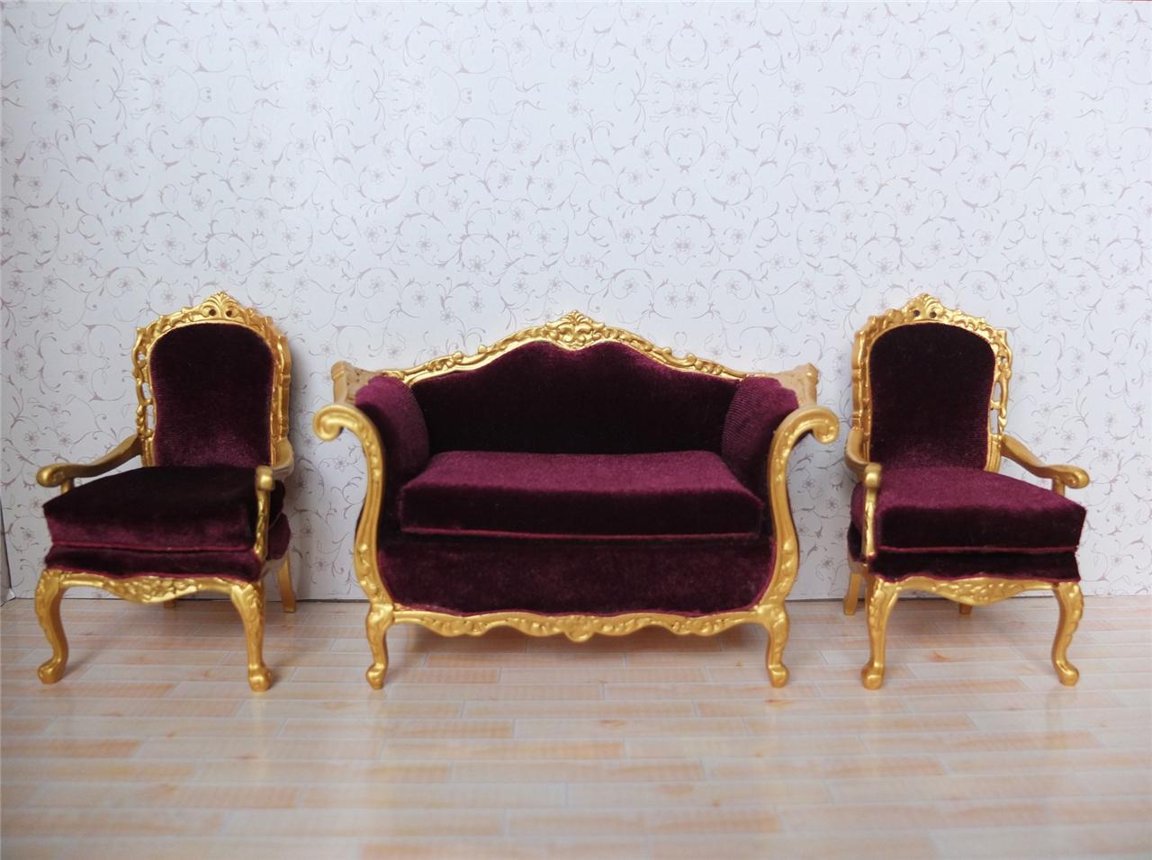 miniature sofa jack knife mechanism bespaq dollhouse living room furniture set
