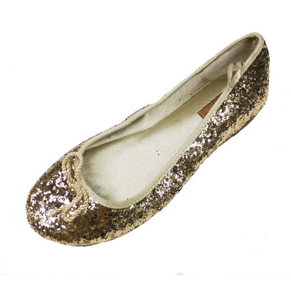 Authentic Zara Kids Girl' Gold Glitter Flat Dress Shoes