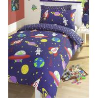 BLAST OFF OUTER SPACE DOUBLE DUVET COVER SET KIDS BEDDING ...
