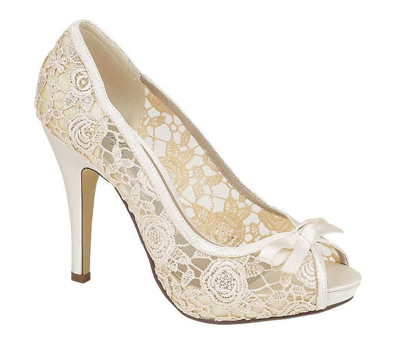Womens Ladies Ivory Lace Evening Wedding Prom Peep Toe