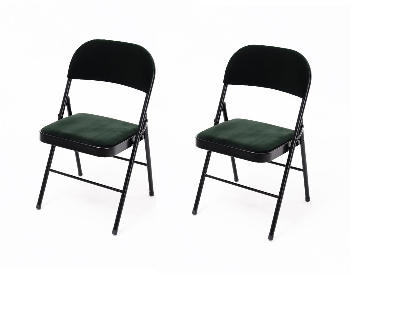folding chair with cushion graco harmony high 2 x colour green dining living room office