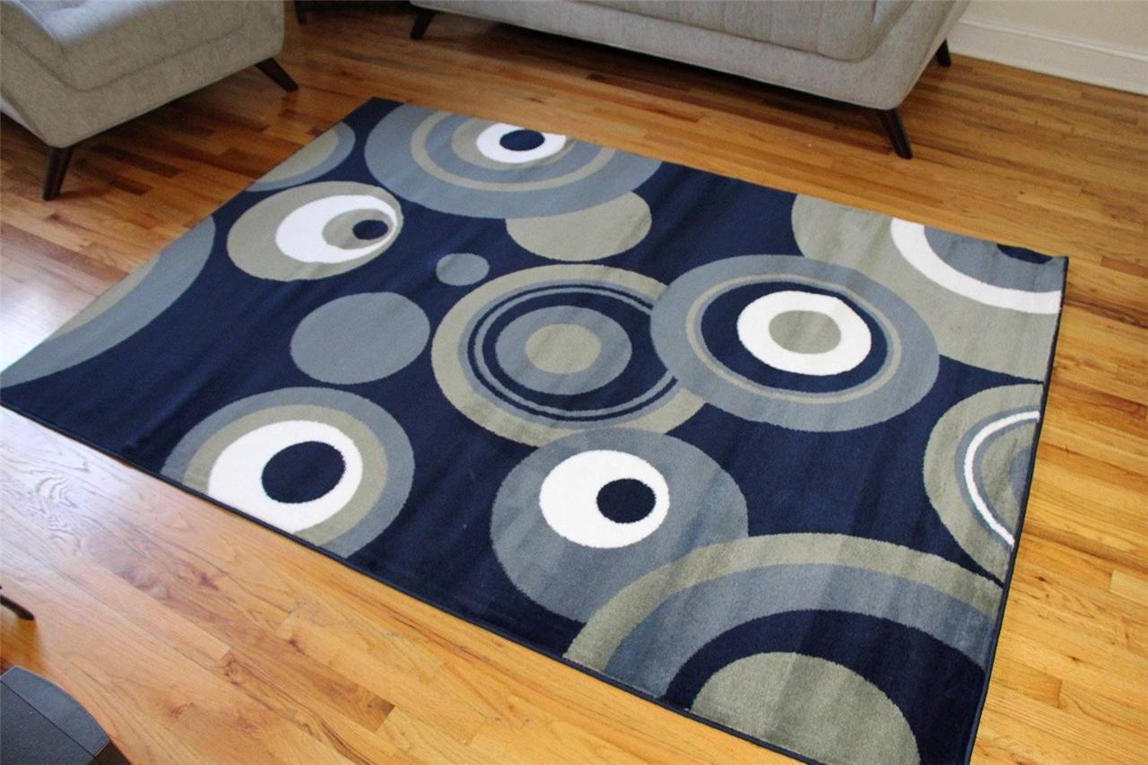 175 Navy Blue White Pea Green 5x7 8x10 Area rugs Carpet