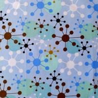 blue atom atomic retro wall art cotton fabric FQ 1/4 yd | eBay