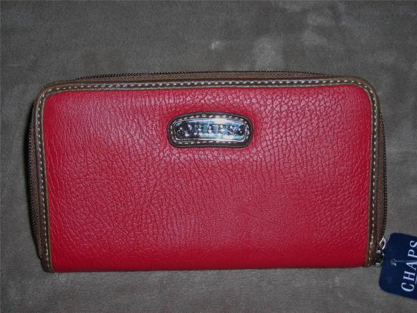 Chaps Womens Wallet Zip- Clutch Styles Claret Red Retails 42 Nwt