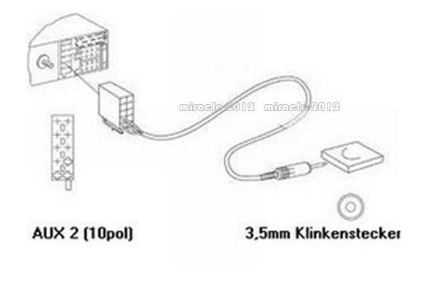 Blaupunkt Radio AUX input cable 2 RCA Car Converter