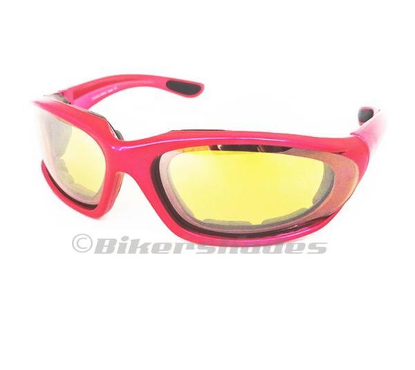 Motorcycle Sun Glasses Foam Padded Womens Pink Biker