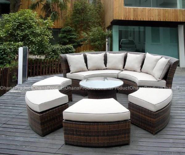 round outdoor wicker patio furniture set Outdoor Patio Wicker Furniture 7pc Round Couch Set | eBay