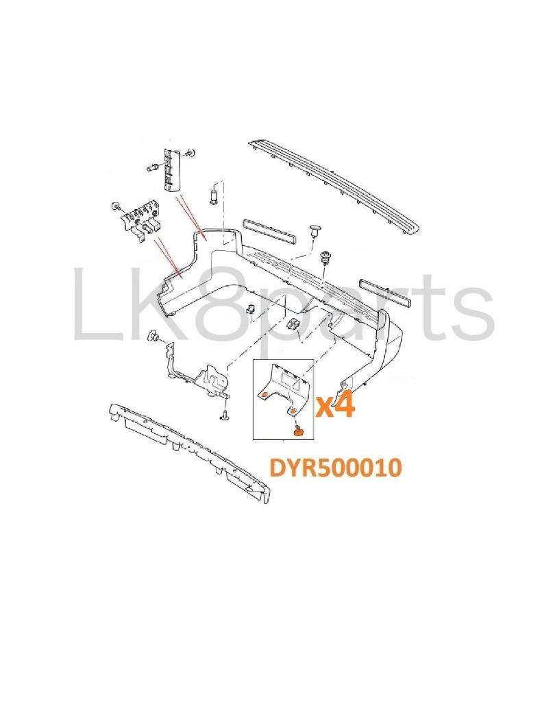 Land Rover LR3 05-09 Rear Bumper Tow Eye Cover Fastener