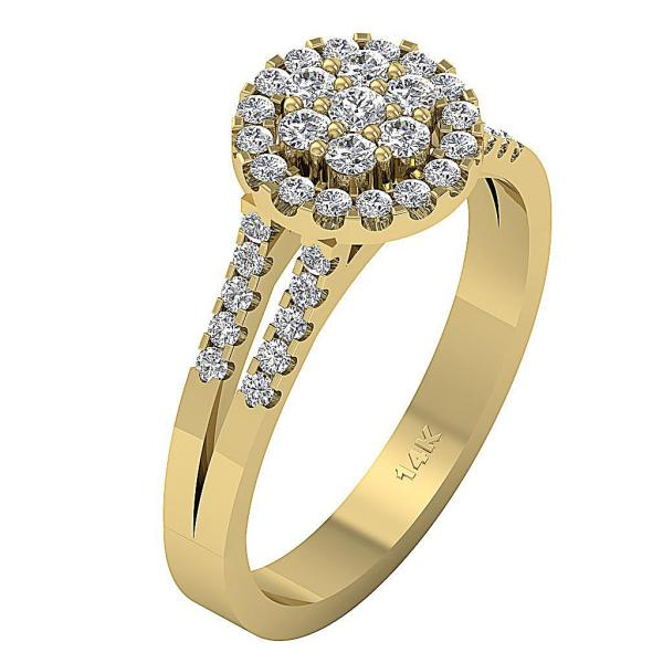 Unique 080Ct Real Diamond 14K Rose Gold Solitaire Halo
