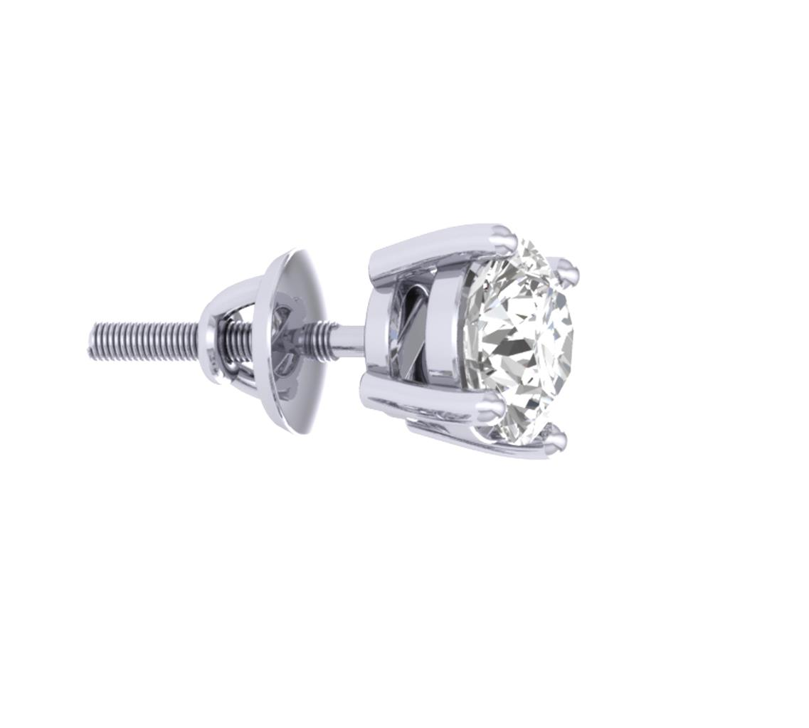 Solitaire Studs Earrings Si1 G 0 50ct Round Cut Diamond